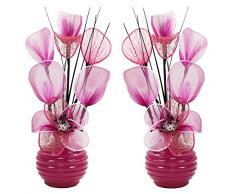 Abbinato paio di rosa fiori artificiali in vaso rosa, decorazioni per la tavola, accessori per la casa, regali, ornamenti, altezza 32 cm