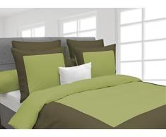 HnL Living Heckett Lane Biancheria da Letto Reversibile 100% Cotone Percalle Lina 135 Green Oasis/Burnt Olive