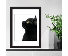 – Adesivi da parete poster – Black Cat Focus murale decalcomanie arte soggiorno scuola materna ristorante hotel Cafe ufficio decorazioni per la casa decorazione, multicolore