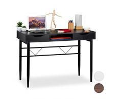 Relaxdays - Scrivania Moderna con cassetti e ripiano, Struttura in Metallo, scrivania da Ufficio, Dimensioni: 77 x 110 x 55 cm, Colore: Nero