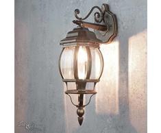 Lampada da pareteBrest, in stile nostalgico, in alluminio pressofuso di colore neo anticato, IP44, attacco E27, potenza fino a 60W, versatile per illuminazione esterna del cortile o del giardino