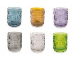 Villa dEste Home Tivoli Mykonos Set Bicchieri Acqua, Multicolore, 6 unità