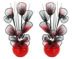 Abbinabili coppia di rosso e nero fiori artificiali in vaso rosso, decorazioni per la tavola, accessori per la casa, regali, ornamenti, altezza 32 cm