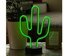 Hellum LED di cactus, Neon Lampada da tavolo, luce notturna, ragazza regalo per bambini, decorazione per feste, matrimoni, Festival, eventi, casa, camera da letto, soggiorno, lampada alimentata a batteria, in metallo, plastica, verde, 18Â x 29,5Â cm