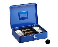 Relaxdays - Cassetta portavalori con Serratura, Grande, con Portamonete, con 2 Chiavi, Dimensioni (A x L x P): 8,5 x 30 x 25 cm, Colore: Blu
