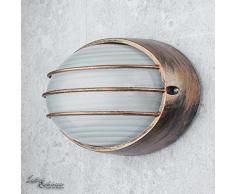 Marittimo lampada da parete da esterno E27 W:22cm vero vetro ovale griglia ovale lampada da parete in oro antico balcone facciata