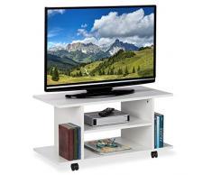 Relaxdays - Mobile per TV con Ruote, 4 Ripiani Aperti, tavolino da Salotto, per dispositivi, CD, Dvd, HBT 40 x 80 x 40 cm, Bianco, PB (Particle, Acciaio, Carta)