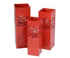Vacchetti Giuseppe 3503500000 Portaombrelli 1-3, Modello Geometri, Metallo, Rosso, 20 x 20 x 60 cm