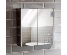 Bath Vida Armadietto a Specchio per Bagno, con 2 Ante in Acciaio Inox, con meccanismo di Chiusura Magnetico, Colore: Argento