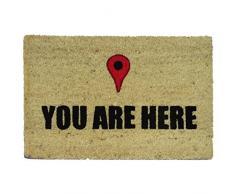 koko doormats Zerbino con Motivo You Are Here, PVC, Cocco, 60 x 40 cm