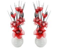 Abbinato paio di rosso fiori artificiali in vaso bianco sporco, decorazioni per la tavola, accessori per la casa, regali, ornamenti, altezza 32 cm