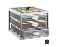 Relaxdays Cassettiera da Scrivania, 3 Cassetti, Formato DIN A4, Porta-Documenti, Box per Lettere e Corrispondenza, Argentato