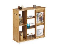 Relaxdays scaffale con rotelle in bambù, mobile, 5 scomparti, HxLxP 85x90x31 cm, portagiornali, maniglie, bambù, color legno