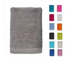DHestia - Set di Asciugamani da Bagno e Doccia, in Cotone 100%, 500 g/m², Colori e Misure Grandi, Colore: Antracite, 50 x 100 cm (Confezione da 3)