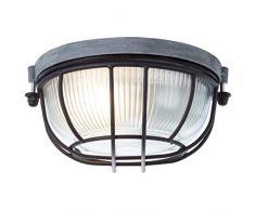 Brilliant Lauren - Lampada da parete rotonda, 19 cm, effetto industriale, in vetro, 1 x E27, adatta per lampade normali fino a max. 40 W.