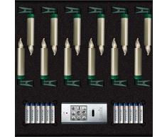 Krinner Lumix LUMIX Superlight Mini Metallic - Set di 12 candele Power LED per albero di Natale, in plastica ABS, 0,014 W, 1,5 x 1,5 x 9 cm, laccate a mano