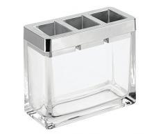 InterDesign Casilla Portaspazzolino a scomparti per lavabo e mensole, Porta spazzolini in vetro e plastica, trasparente e argento