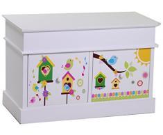 Vacchetti Giuseppe 8033370000 Mobiletto Cassapanca Happy 2 Cassetti, Legno, Bianco, 70 x 35 x 45 cm