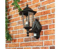 Lampada per esterni, Parigi, nostalgica lampada da parete, con sensore di movimento/E27, 230 V, protezione IP44/Sensore Regolabile