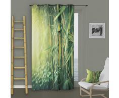 Soleil d Ocre Tenda con Occhielli bambù, Poliestere, Verde, 140x 260cm