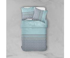Today 012290 Hello disegno Acuario Parure di letto 2 persone + 2 federe cotone verde di acqua, grigio 220 x 240 cm