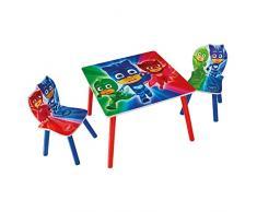 Hello Home PJ Maschere Bambini Set Tavolo e 2 sedie, Legno, Multicolore