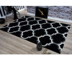 Serdim Rugs Ltd - Tappeto Moderno, Morbido, Intagliato a Mano, 1,2 cm di Spessore, Idrorepellente e Non stinge, Lavabile (Nero, 60 x 230 cm)