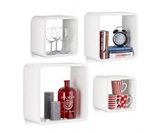 Relaxdays 10021777_49 Set 4 Mensole da Parete Cube per il Soggiorno, Forma Quadrata, Bianco