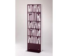 Libreria in metacrilato colore viola 58 x 12 x 183 cm, scaffale per libri da appoggio dal design moderno e particolare, libreria per casa e ufficio con struttura in metacrilato, Made in Italy