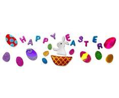 Outlook Design Italia Gel Gems Banner Large Decorazione Autoadesiva da Pasqua, Multicolore, 49 x 23 x 1.5 cm