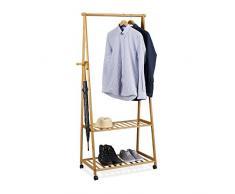 Relaxdays appendiabiti su ruote, in bambù, 2 ripiani per scarpe, appendiabiti, AxLxP: 166 x 84 x 45 cm, mobile armadio, colore: marrone naturale, in bambù