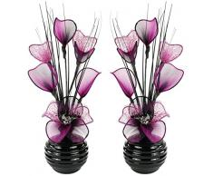 Coppia di fiori artificiali viola e nero in vaso nero, decorazioni da tavolo, accessori per la casa, regali, ornamenti, Vetro, Purple/Black with Purple in Black Vase, 11.5 x 11 x 32 cm