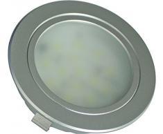 Timpani Nekkar Kit da 4 Faretti ad Incasso Sottili a LED Luce Diffusa 20 W, Argento, 6.8 x 1.65 cm