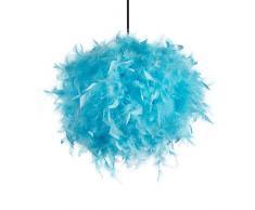 INNOTECK Lampada da soffitto fatta a mano con piume blu. Paralume decorativo in stile contemporaneo per soggiorno, camera da letto e stanza dei bambini, colore naturale