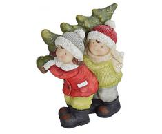 LORENZON GIFT NYM-1951 Bimbi Natale con Albero in Spalle con LUCI, POLIRESINA, Multicolor, Unica