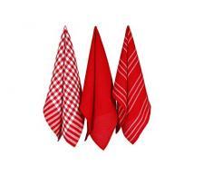 Penguin Home 3249 Colore 3Â Pezzi Set di Strofinacci, 50Â x 70Â cm, Cotone, Red, 50 x 70 cm, Rosso, Asciugamano