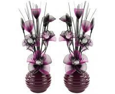 Abbinabili coppia di viola e nero fiori artificiali in vaso viola, decorazioni per la tavola, accessori per la casa, regali, ornamenti, altezza 32 cm