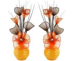 Abbinato paio di arancione giallo vaso di fiori artificiali, decorazioni per la tavola, accessori per la casa, regali, ornamenti, altezza 32 cm