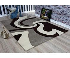 Serdim Rugs Ltd - Tappeto Moderno, Morbido, Intagliato a Mano, 1,2 cm di Spessore, Idrorepellente e Non stinge, Lavabile (Beige Marrone, 120 x 170 cm)