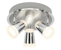 Brilliant g15234/77 a +, lampade da parete, metallo, 4,5 W, Ferro/cromo, 14.5 x 21 x 14.5 cm
