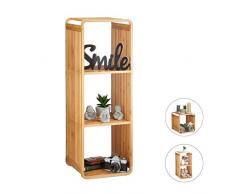 Relaxdays Scaffale Aperto con Angoli Arrotondati, Mobile da Bagno con Mensole, Quadrato, bambù, Marrone, HxLxP: 96x33x33 cm