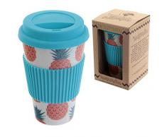 Puckator Bambootique Tazza Termica con Tappo Ananas, Bamboo, Beige