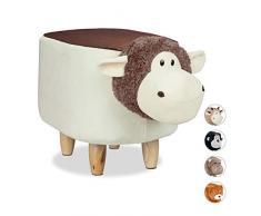 Relaxdays Panchetta a Forma di Pecorella per Bimbi, Sgabello Decorativo per Cameretta Bambini, Legno e Stoffa, Pecora, HxLxP: 35 x 32 x 57-63 cm