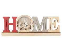 III Scritta in legno con illuminazione a LED, Home. 45 x 15 x 5 cm, con timer da 6 ore, funzionamento a batteria, per Natale, inverno, luce datmosfera, marrone