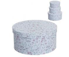 Dcasa Set di 3 scatole Rotonde con Bottone, per Decorazioni Festive e Articoli per la casa, Unisex, per Adulti, Colore: Unico