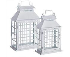Dcasa - Set di 2 Lanterne in Metallo, Decorazioni per mobili, Adesivi per la casa, Unisex, per Adulti, Multicolore (Multicolore), Unico