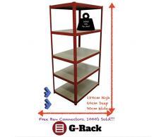 180 cm x 90 cm x 60 cm, 5 ripiani (265KG per ripiano), scaffalatura da garage per oggetti pesanti, capacità 1325 kg.