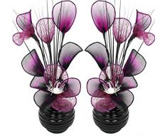 Flourish Creative Florals Coppia di Fiori Artificiali Viola e Nero in Vaso Nero, Decorazioni da Tavolo, Accessori per la casa, Regali, Ornamenti, Vetro, Purple/Black in Black Vase, 11.5 x 11 x 32 cm