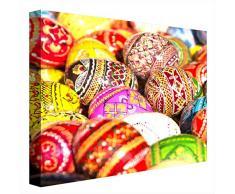 CCRETROILUMINADOS Ccretroilluminate Uova di Pasqua Colorate Quadri Illuminati con Luce LED, in metacrilato, Multicolore, 80 x 80 cm