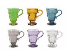 Villa d'Este Home Tivoli Duchessa Set Bicchieri Acqua con Manico, Multicolore, 6 unità